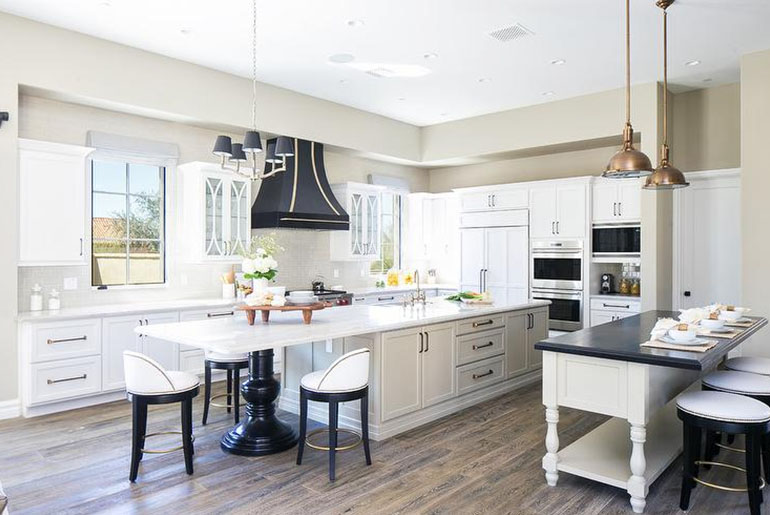 black and white matching kitchen chairs and stools