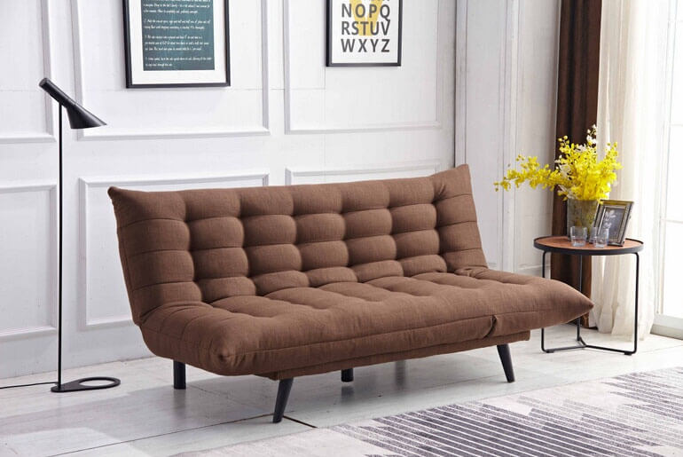 brown futon with standing light