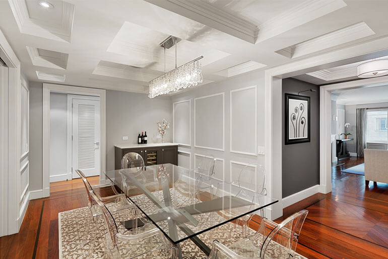 glass chairs and glass dining table