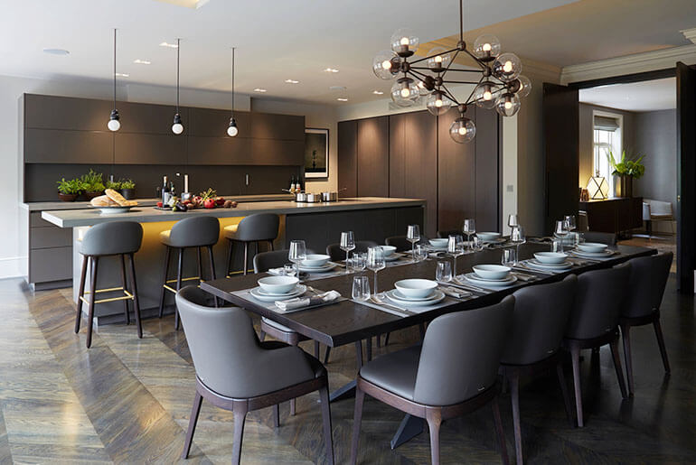 kitchen table and gray chairs with matching bar stools