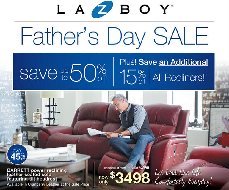 lazyboy recliner fathers day sale ad
