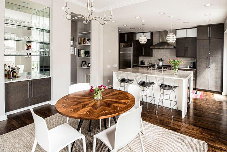 mix match dining chairs and bar stools
