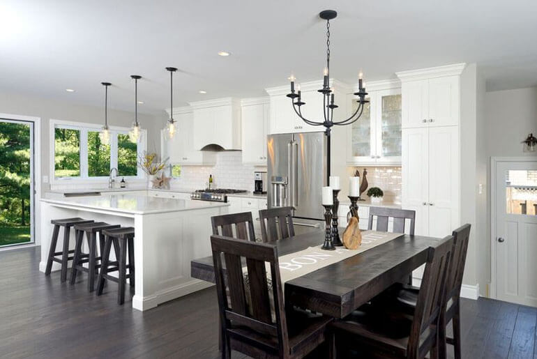 rustic matching bar stools and kitchen chairs