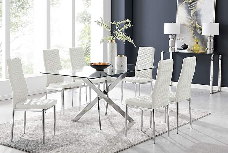 white Milan dining chairs and glass table with chrome legs